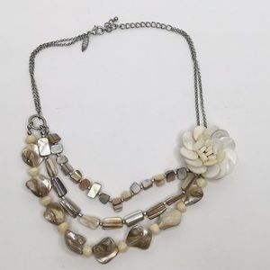 NY Flower and Stone Multiple Strang Necklace
